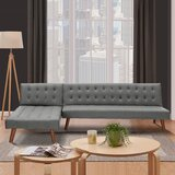 Osgood 100'' Faux Leather Reversible Sleeper Sofa & Chaise by Corrigan Studio®