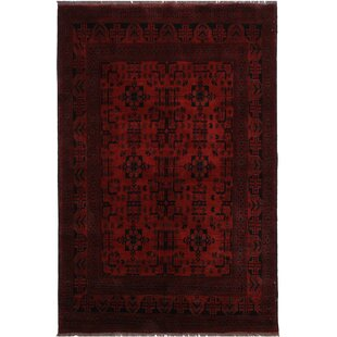 Shop For One-of-a-Kind Cremeans Hand-Knotted 5'8 x 7'10 Wool Red/Black Area Rug By Isabelline