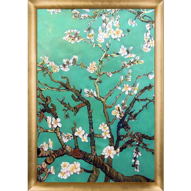 La Pastiche Almond Blossoms Vertical Jade Green By Vincent Van Gogh Picture Frame Painting Print On Canvas Wayfair
