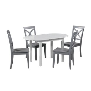 Deforest 5 Piece Extendable Solid Wood Dining Set Highland Dunes