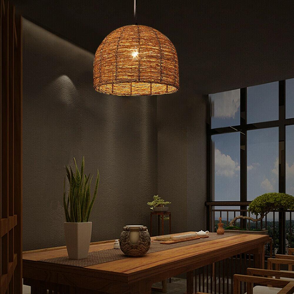 Himp Vintage Rattan Wicker Design Ceiling Shade Pendant Lighting Brown Black