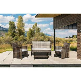 Beardmore 4 Piece Rattan Conversation Set with Cushions