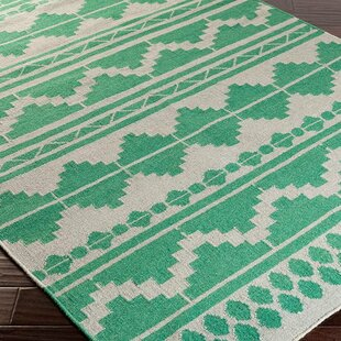 Purchase Charleville Flat Woven Wool Emerald/White Area Rug By Loon Peak