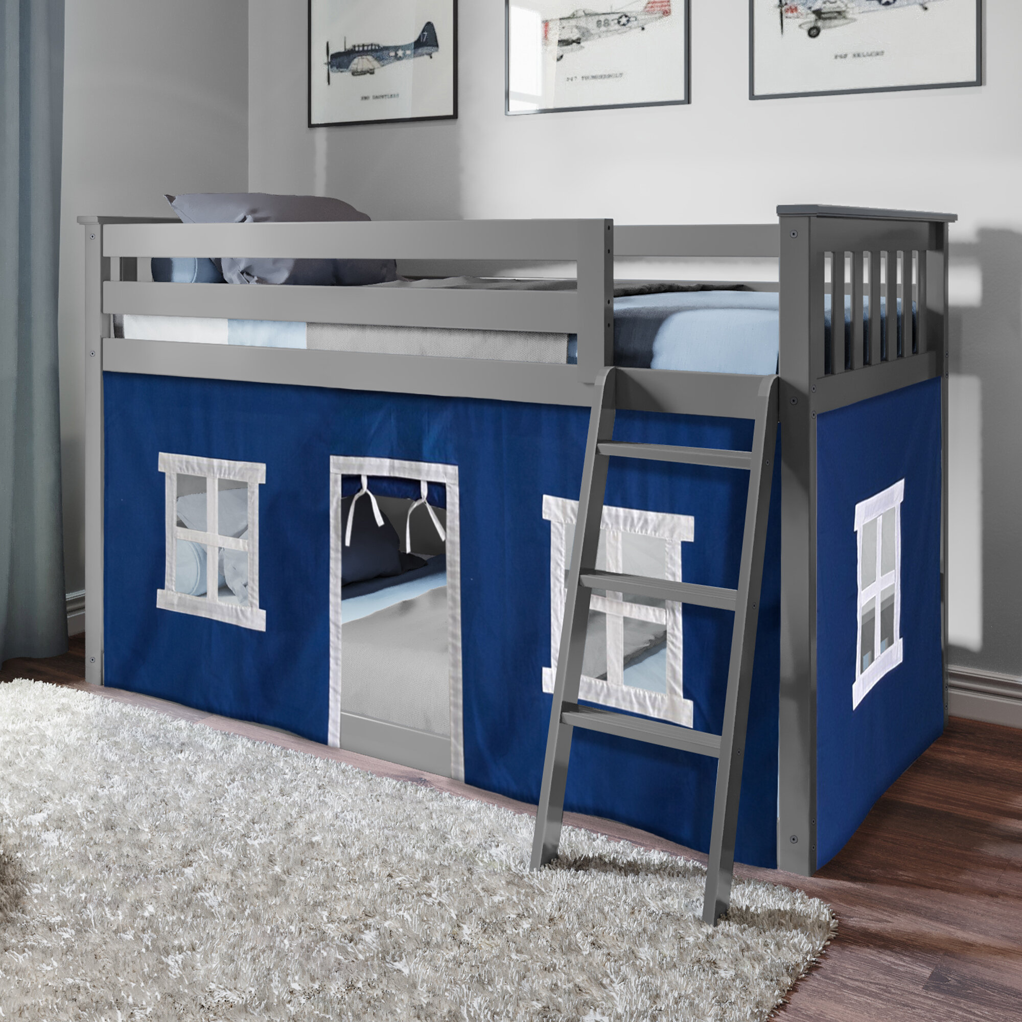 Kids Silver Twin Junior Loft Bed with Metal Blue Slide Guard Rail Play Area FUN
