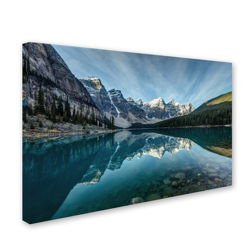 Millwood Pines Moraine Lake Reflection Photographic Print On Wrapped Canvas In Blue Reviews Wayfair