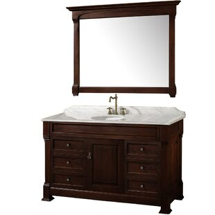 Andover 55 Single Dark Cherry Bathroom Vanity Set with Mirror By Wyndham Collection