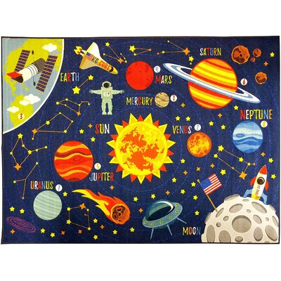 Weranna Outer Space Safari Road Map Educational Learning Blue Indoor Outdoor Area Rug