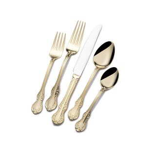 Yeary Gold Plated 65 Piece 18/0 Stainless Steel Flatware Set, Service for 12