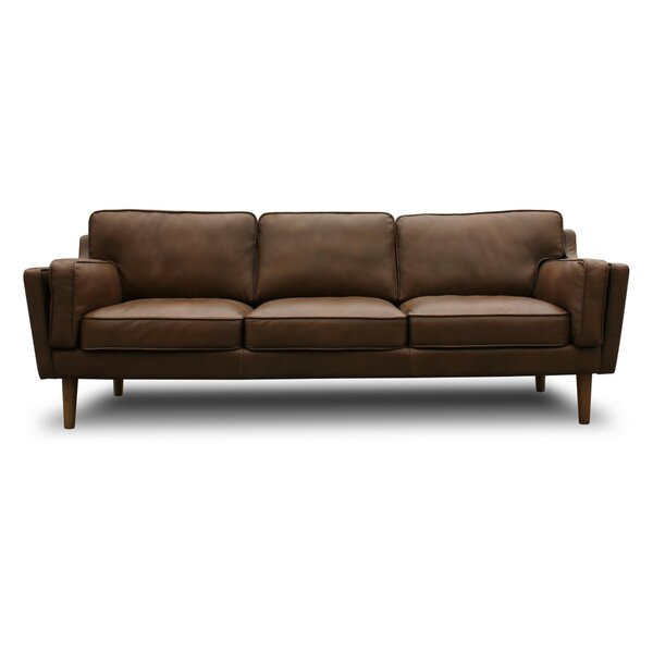 Warren Mid Century Modern Leather Sofa by Joss & Main