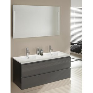 Belfry Bathroom 121 cm Wandmontierter Waschtisch für Doppelbecken Setf mit Spiegel und Aufbewahrungsschrank