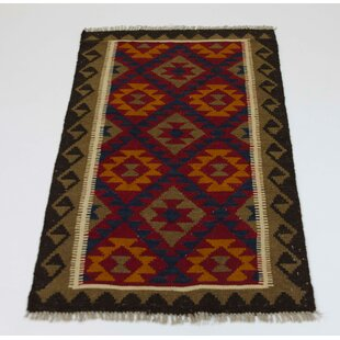 Handmade Kilim Wool Red/Beige/Dark Blue Rug by Parwis