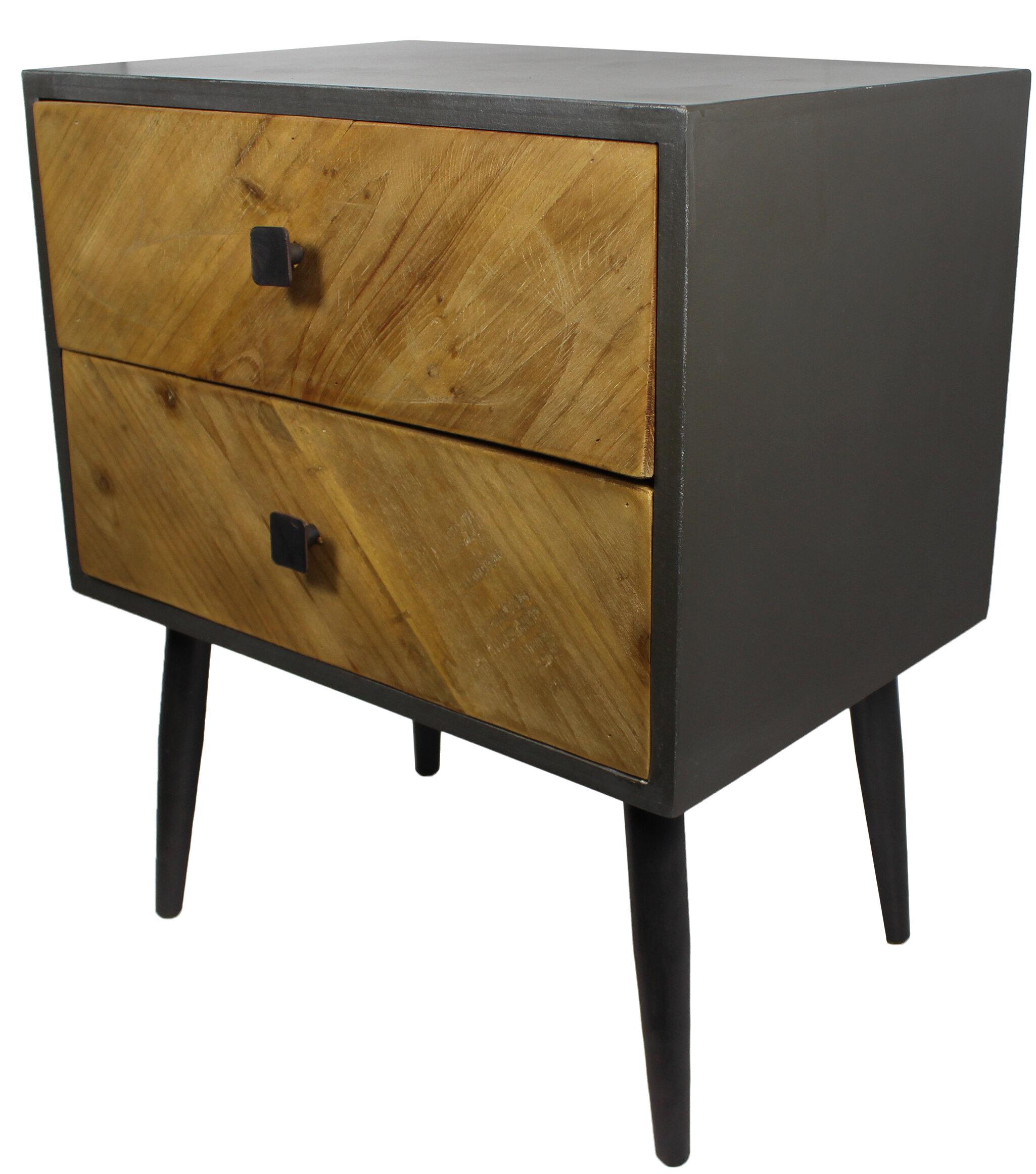 Reid Rustic Wood 2 Drawer Nightstand