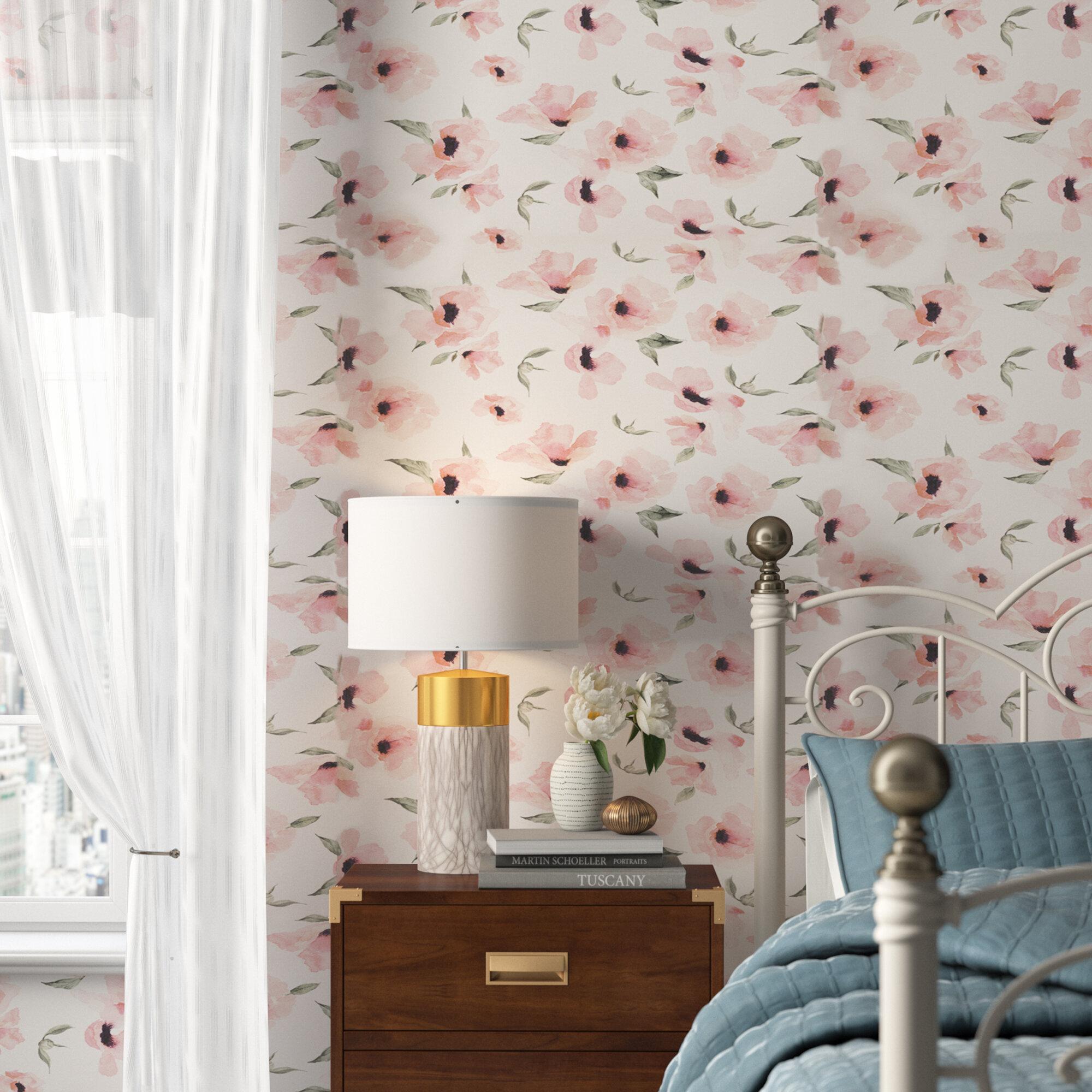 House Of Hampton Jiles Watercolor Poppy Flowers Matte Peel And Stick Wallpaper Panel Reviews Wayfair