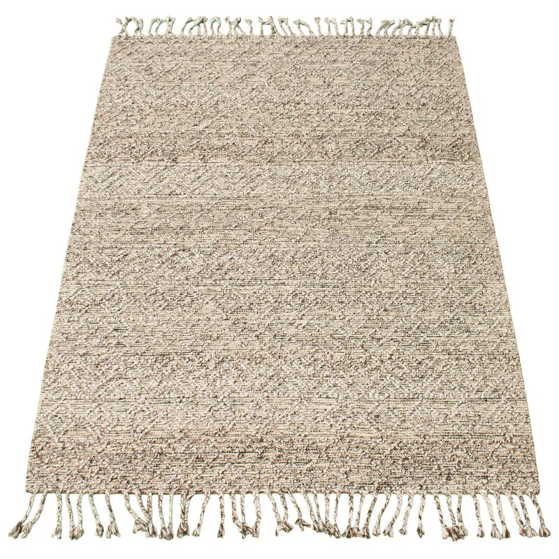 Dakota Fields Geometric Hand Braided Wool Tan Area Rug Wayfair