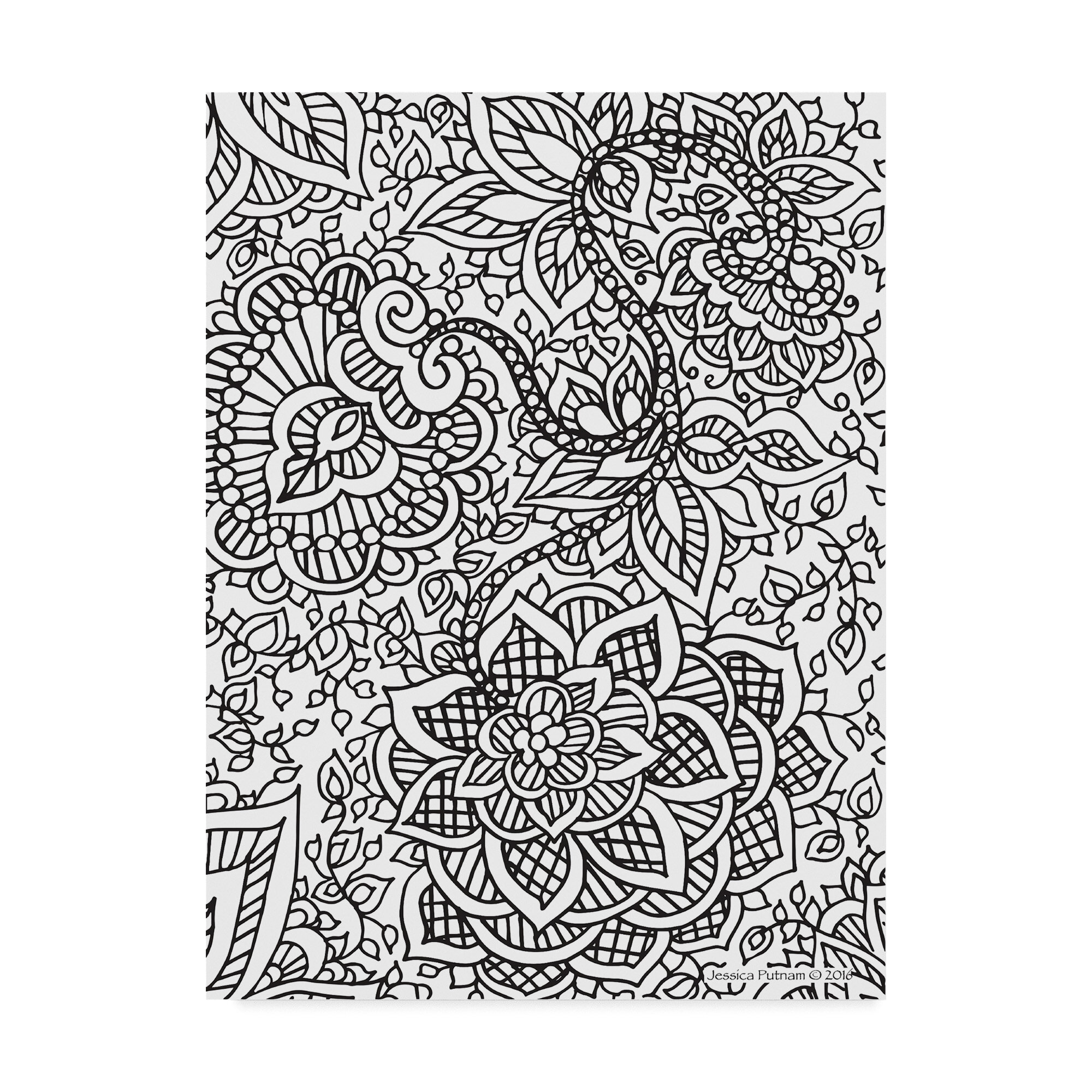 Trademark Art Floral Patterns 8 Drawing Print On Wrapped Canvas