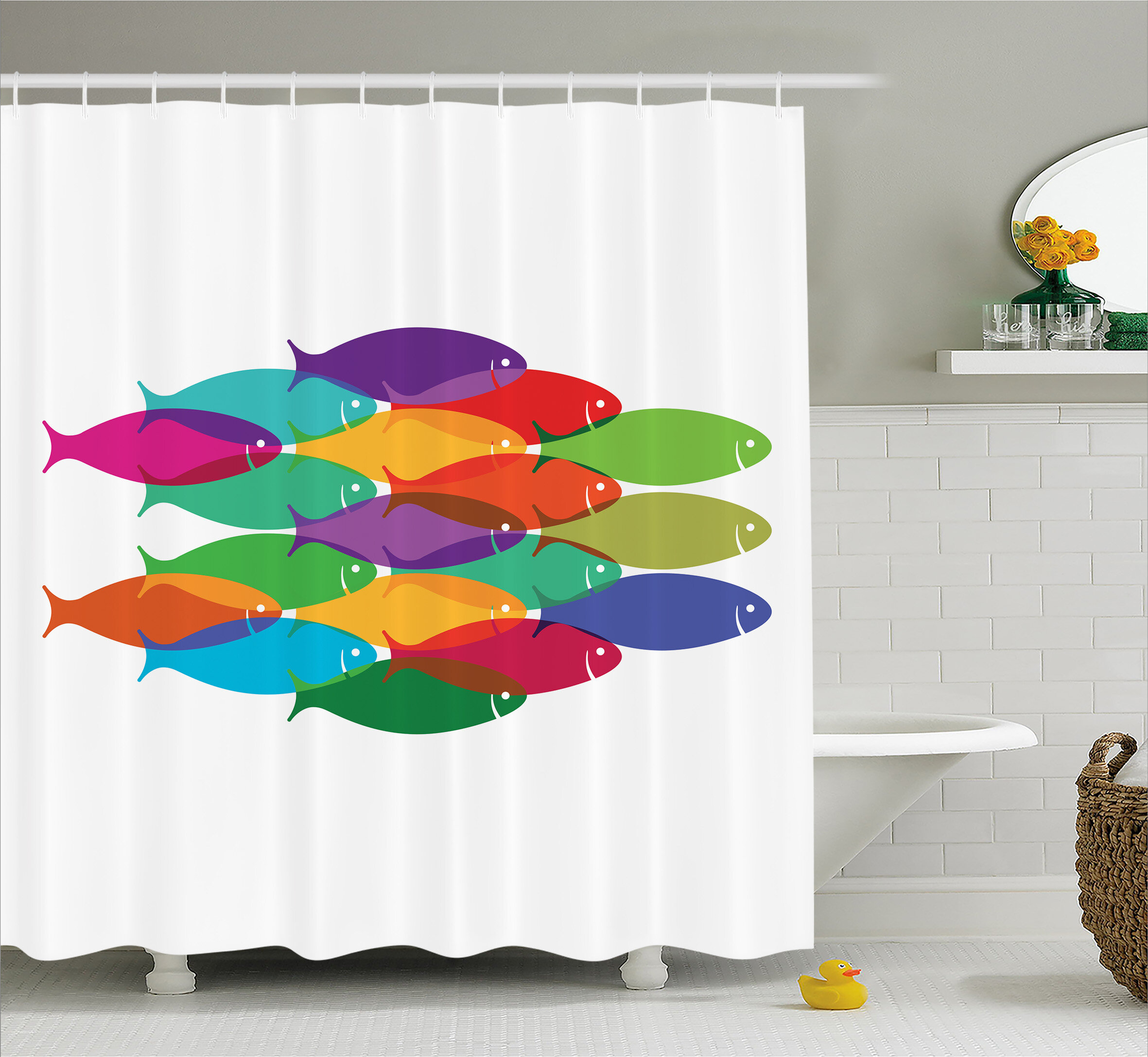 Funny Bass Fish With Hooks at River Bathroom Fabric Shower Curtain /& 12 Hooks