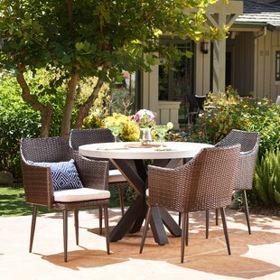 Lindsley Outdoor 5 Piece Dining Set with Cushions