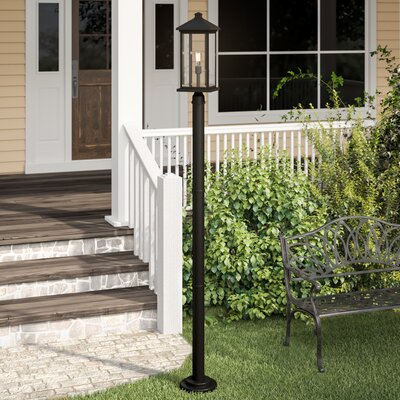 "Lovette 1-Light 97"" Post Light Sol 72 Outdoor Finish: Black, Size: 97"" H x 9.5"" W x 9.5"" D"