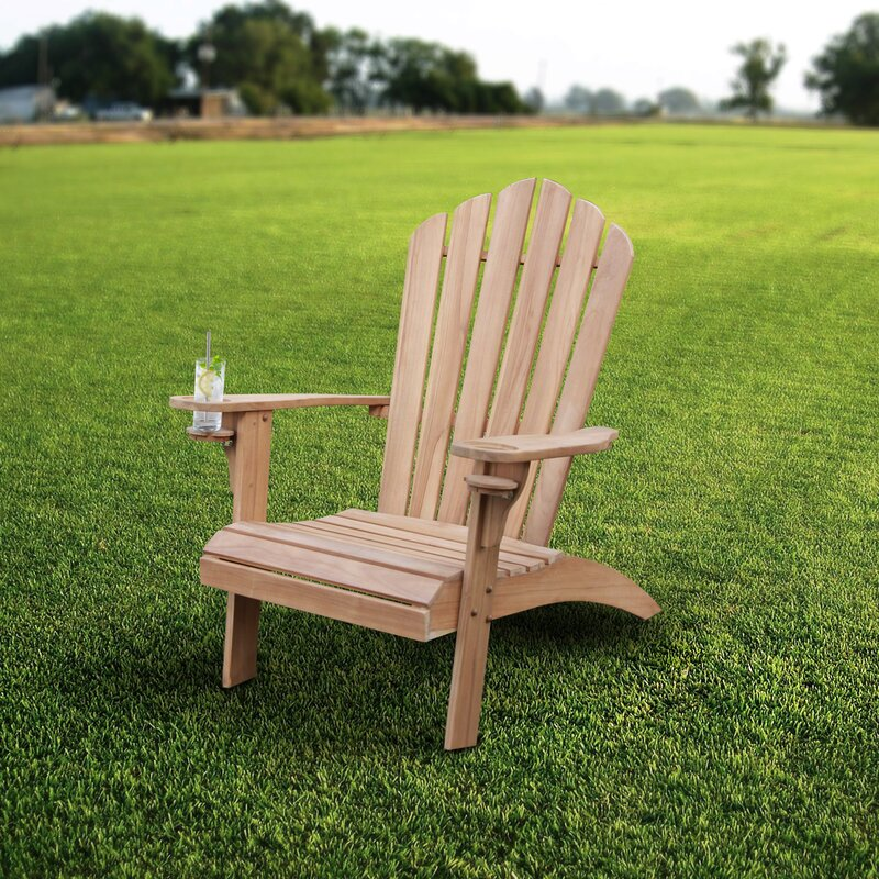 Bayou Breeze Cynthia Teak Adirondack Chair With Cupholder Wayfair