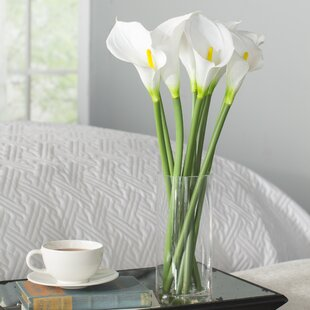 Artificial Potted White Callas in Vase