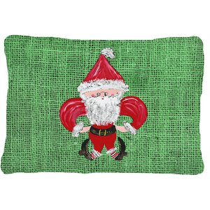 Christmas Santa Fleur De Lis Indoor/Outdoor Throw Pillow
