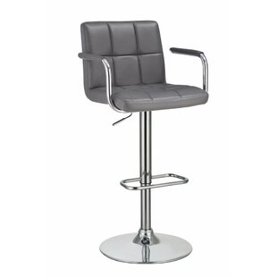 Wootton Grid Adjustable Height Swivel Bar Stool by Orren Ellis