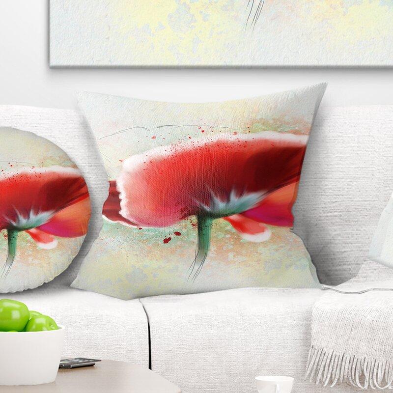 East Urban Home Flowerswork Beautiful Watercolor Poppy Pillow Wayfair