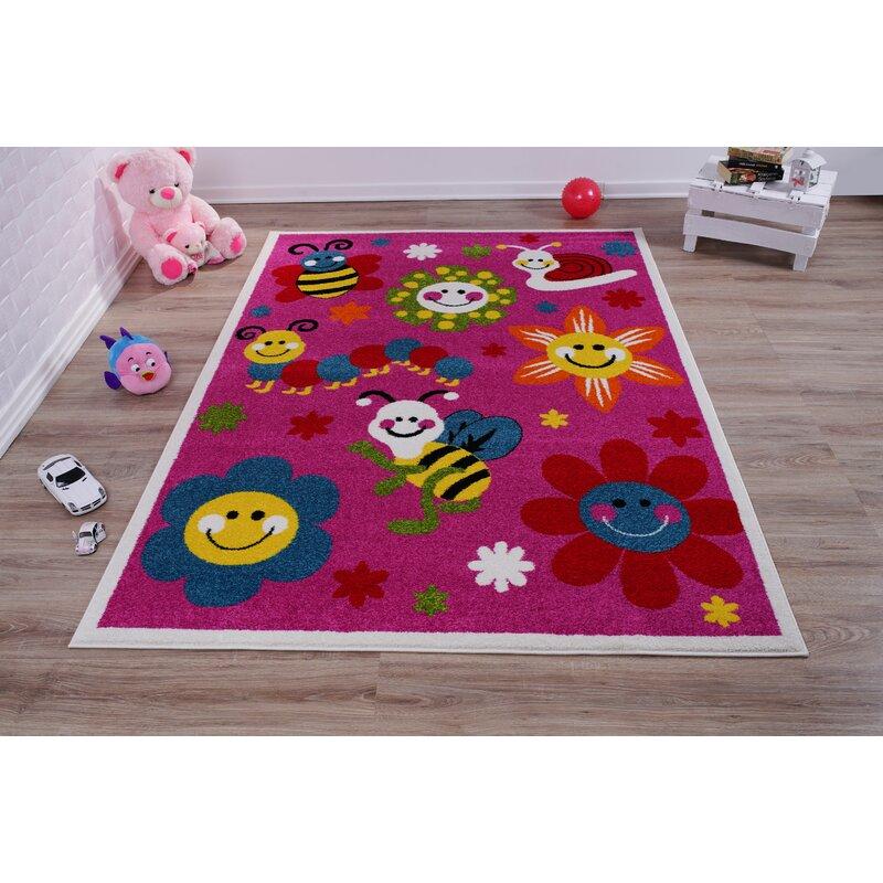 Zoomie Kids Kindig Floral Pink Area Rug Wayfair