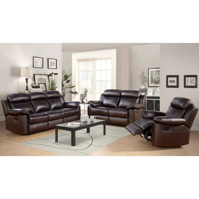 Breakwater Bay Oliver Leather 3 Piece Living Room Set & Reviews