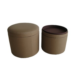 Friedman Canvas Round Storage Ottoman
