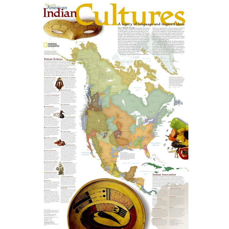 National Geographic Maps North American Indian Cultures Poster Map Wayfair