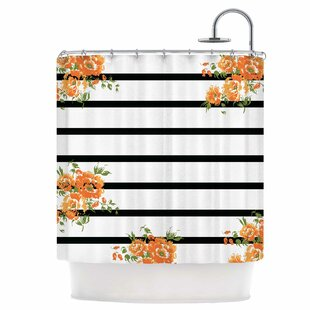 Floral Stripes Single Shower Curtain
