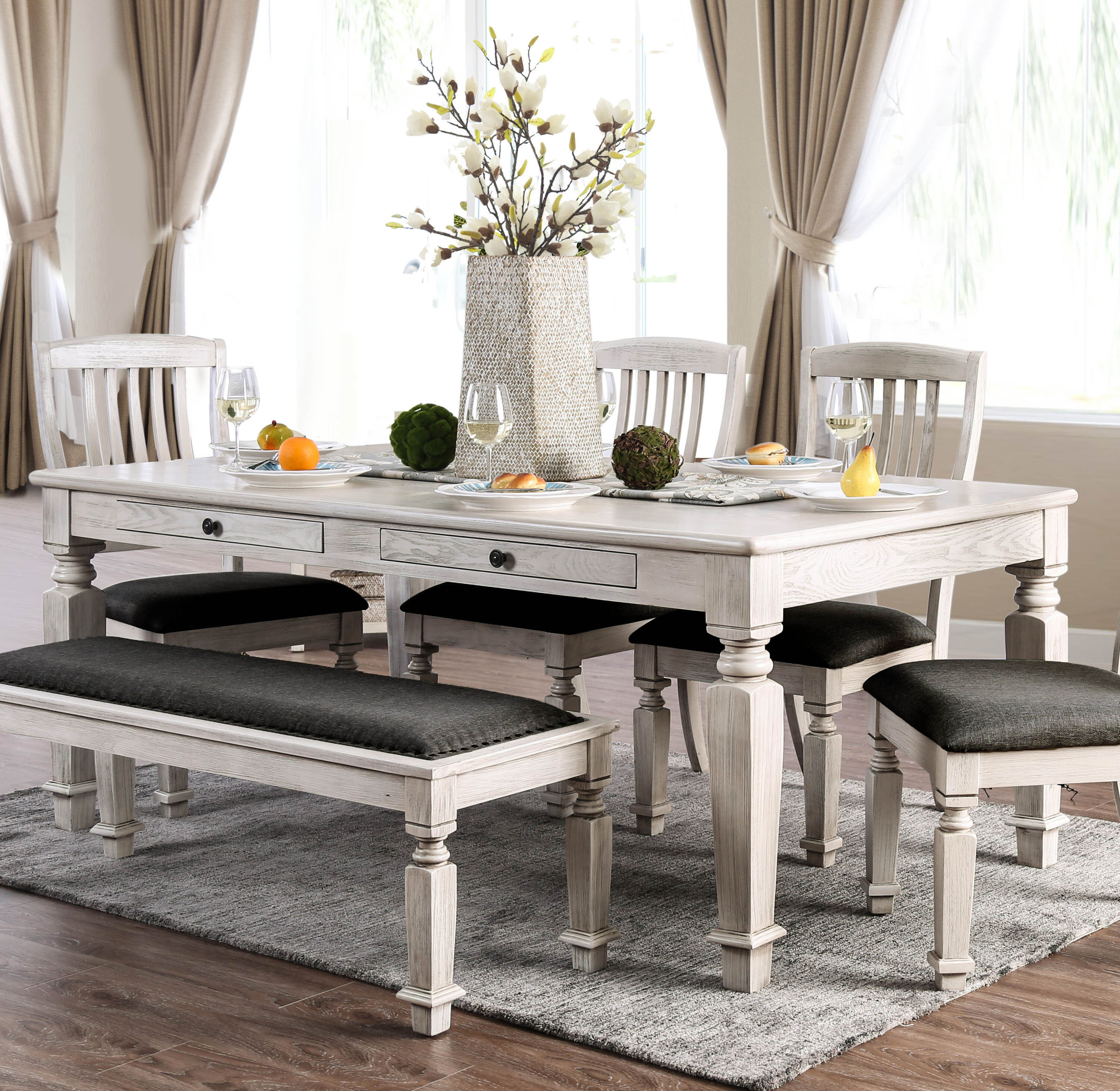 Ophelia & Co. Tomas 6 Piece Solid Wood Dining Set & Reviews | Wayfair