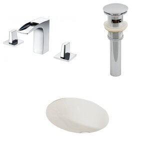 Ceramic Oval Undermount Bathroom Sink with Faucet and Overflow ByAmerican Imaginations