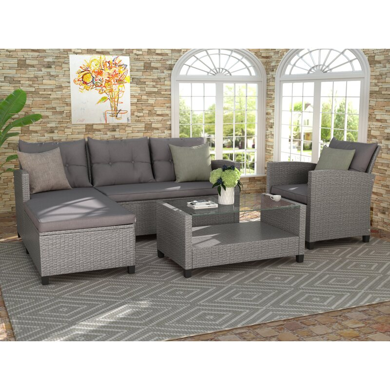 Latitude Run® Living Room,Outdoor, Patio Furniture Sets, 4 ... on Outdoor Living Room Set id=84674