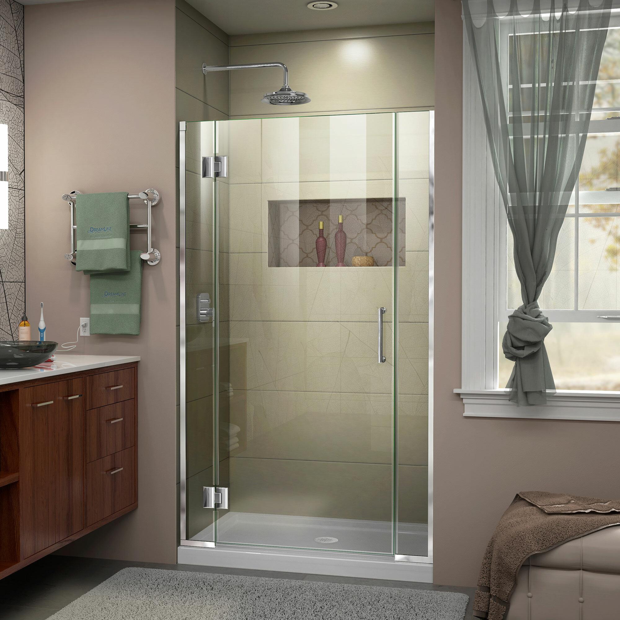 """Unidoor-X 10"""" W x 10"""" H Hinged Frameless Shower Door"""