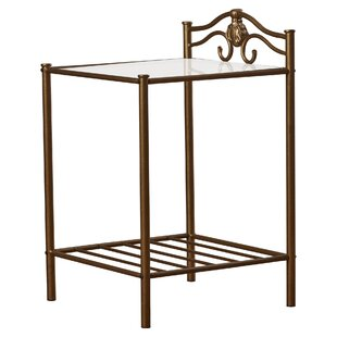 Comparison Emington Nightstand in Brush Gold by Charlton Home