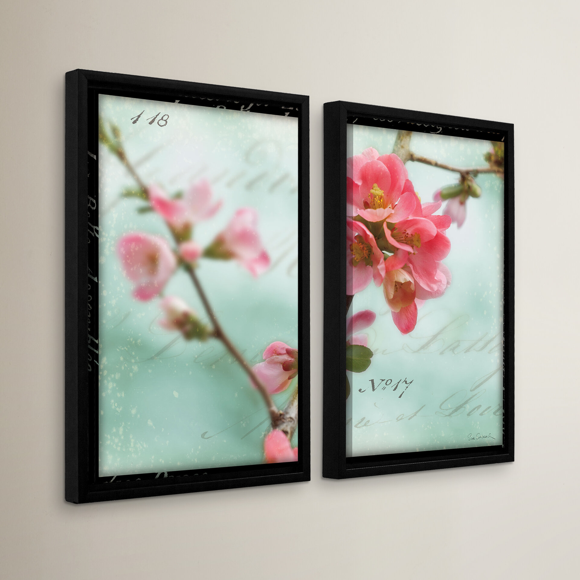 Red Barrel Studio Quince Blossom 2 Piece Framed Photographic Print Set Wayfair