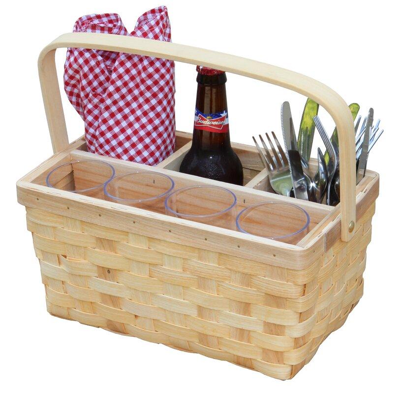 Vintiquewise Natural Woodchip Picnic Flatware Serving Caddy Basket ...