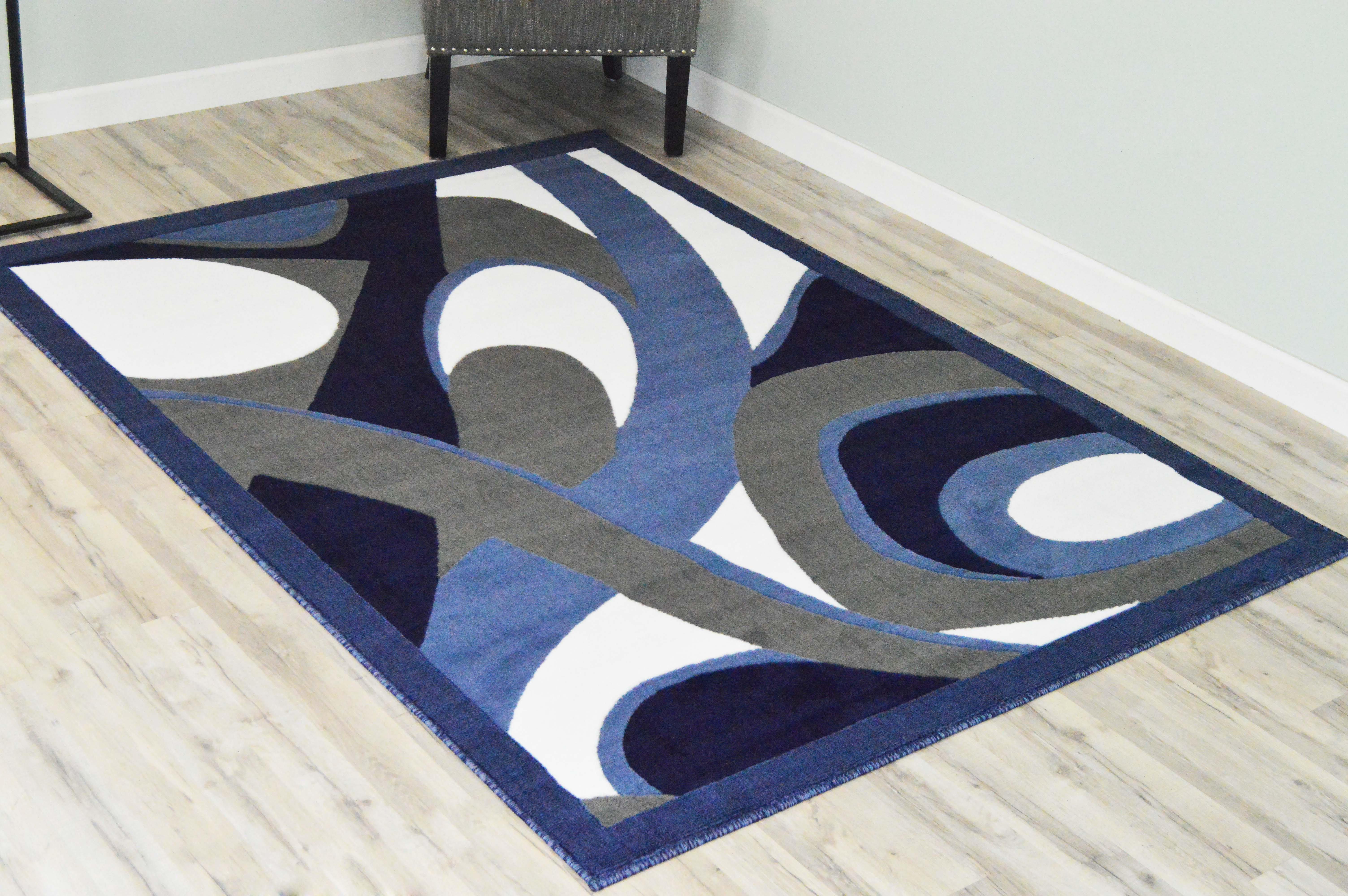 Latitude Run Adorah Power Loom Blue Gray Rug Reviews Wayfair