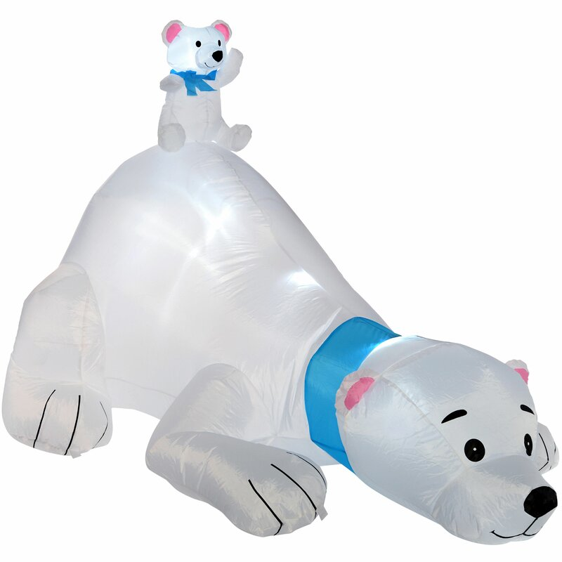 180cm pre lit polar bear inflatable christmas decoration with led light and fan