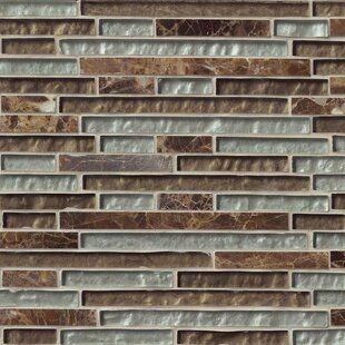 Celestine Blend Interlocking Pattern Random Sized Glass/Stone Mosaic Tile in Brown