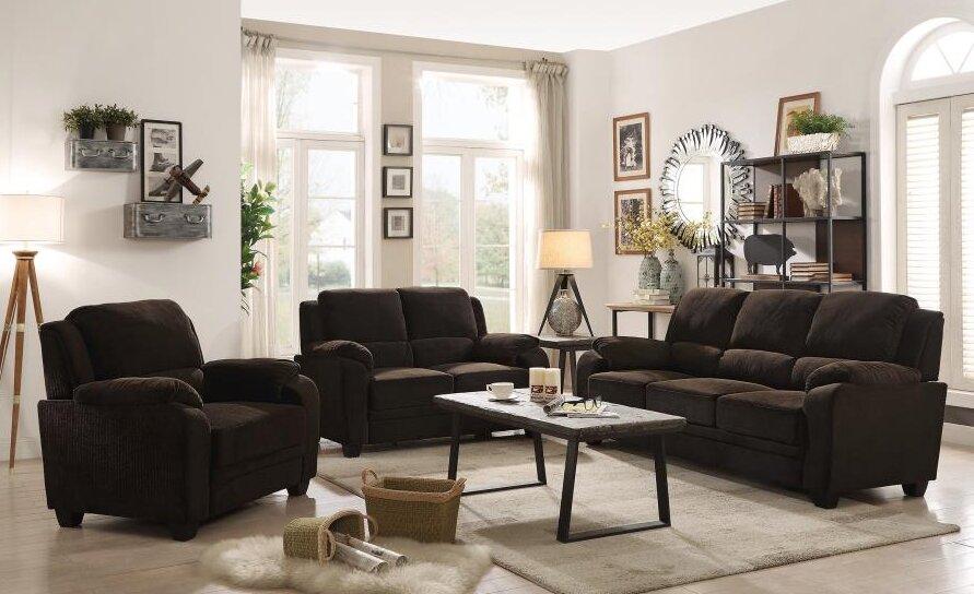 Red barrel studio creamer 3 piece living room set for Wg r living room sets