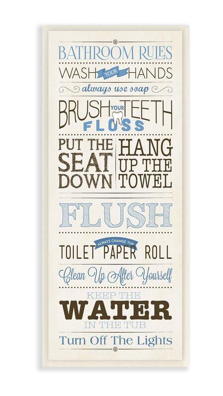 Bathroom Rules andover mills 'modern skinny 'bathroom rules' framed textual art