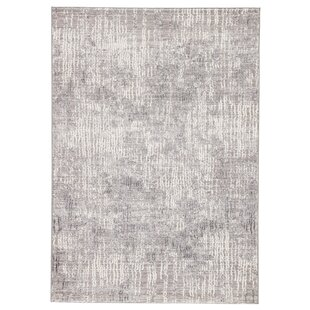 Affordable Almus Abstract Light Gray/White Area Rug ByWilliston Forge