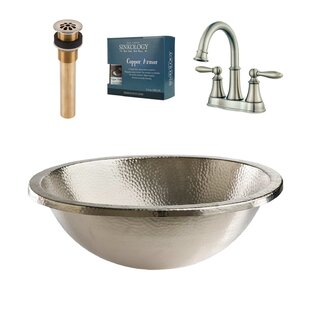 Compare prices Edison and Courant All-in-One Metal Circular Undermount Bathroom Sink with Faucet By Sinkology