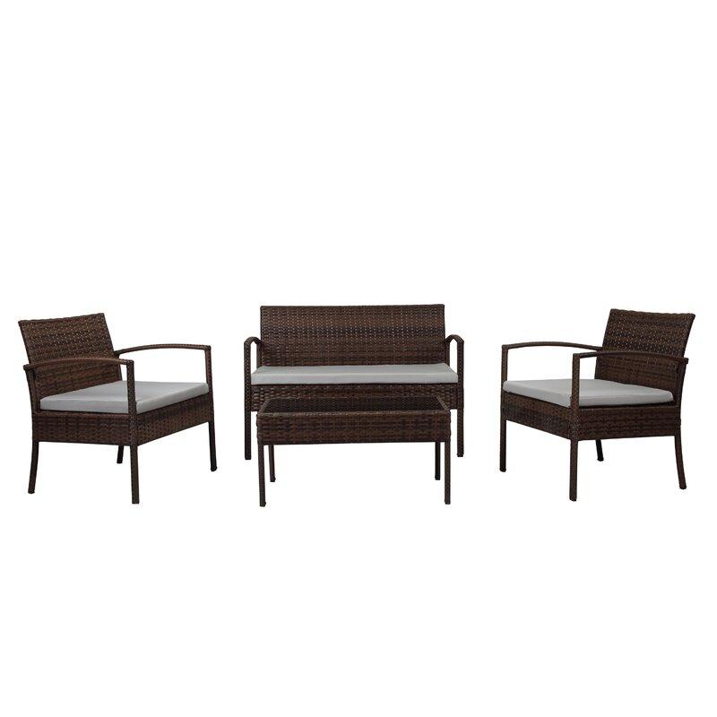 Roxana 4 Piece Rattan Sofa Seating Group with Cushions