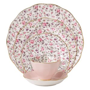 rose confetti vintage formal bone china 5 piece place setting service for 1