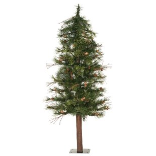 mixed country alpine 7 green artificial christmas tree with unlit with stand