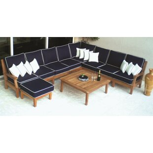 Hebert 8 Piece Teak Sunbrella Sectional Seating Group with Sunbrella Cushions